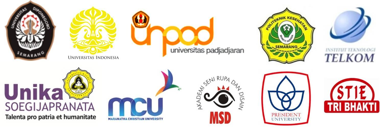 UI, Undip, Unpad, Poltekkes Semarang, IT Telkom, Unika Soegijapranata, Universitas Maranatha, MSD, President University, STIE Tri Bhakti