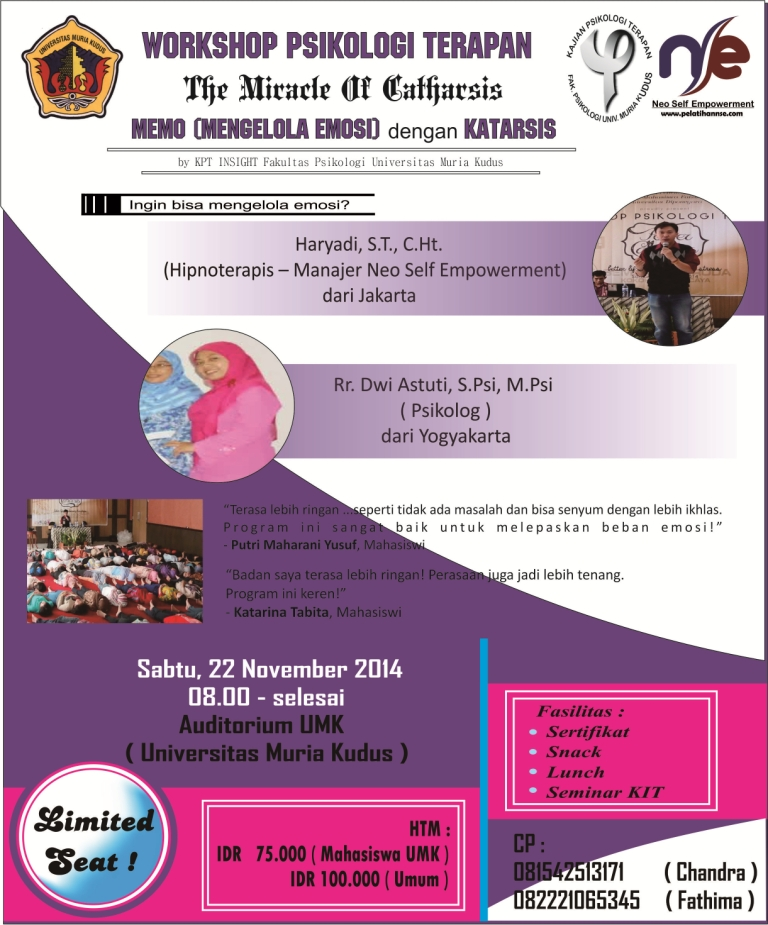 Workshop The Miracle of Catharsis 2 - Universitas Muria Kudus
